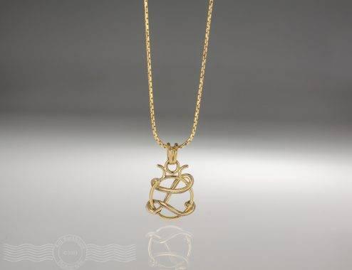 Handmade Gold Initials Pendant by Rockwater Studio