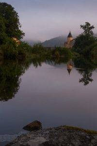 Chateau and reflection, La Rive Droite at Brassac