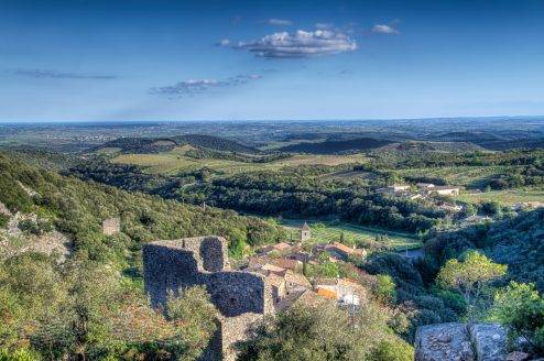 Commanding views over the plains from the Castle at Cabrerolles